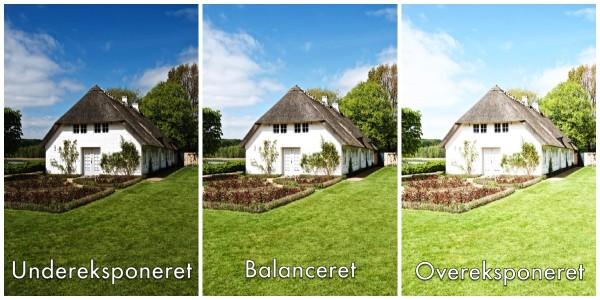 Grundlæggende fotografi. Eksempel på undereksponering, balanceret eksponering og overeksponering.[