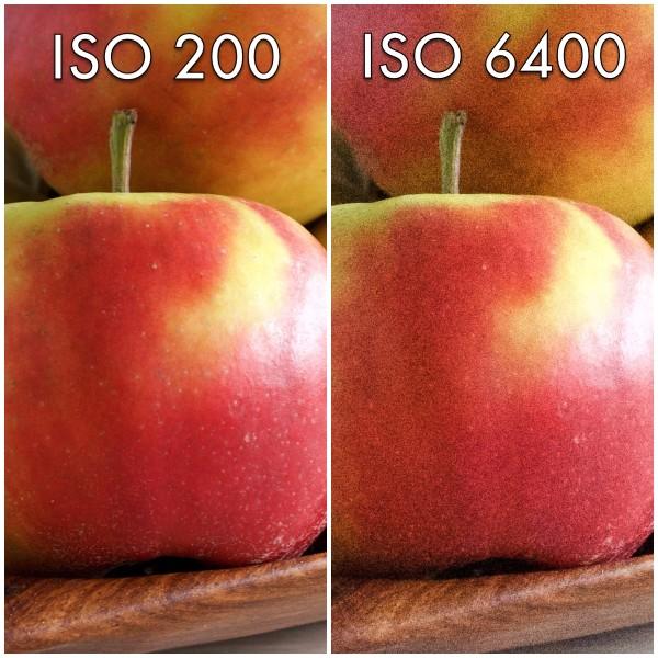 Grundlæggende fotografi. Eksempel på mængden af billedstøj ved forskellige ISO-værdier